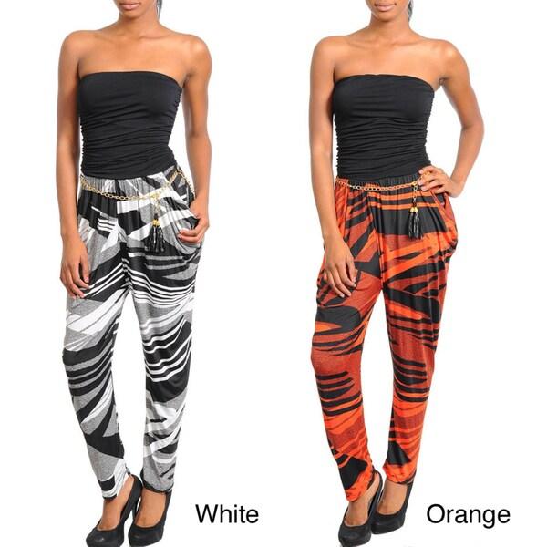 Stanzino Women's Geometric Print Strapless Contrast Jumpsuit
