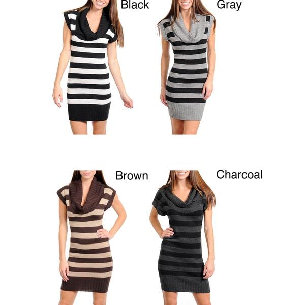 Stanzino Women's Cowl Neck Striped Sweater Dress