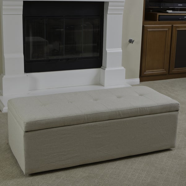 Abigail Ivory Fabric Storage Ottoman by Christopher Knight Home