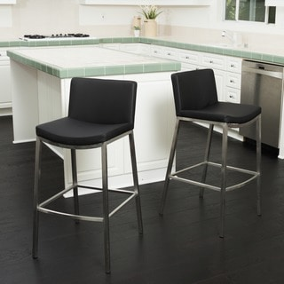 Mauricio 25-inch Black PU Barstool (Set of 2) by Christopher Knight Home