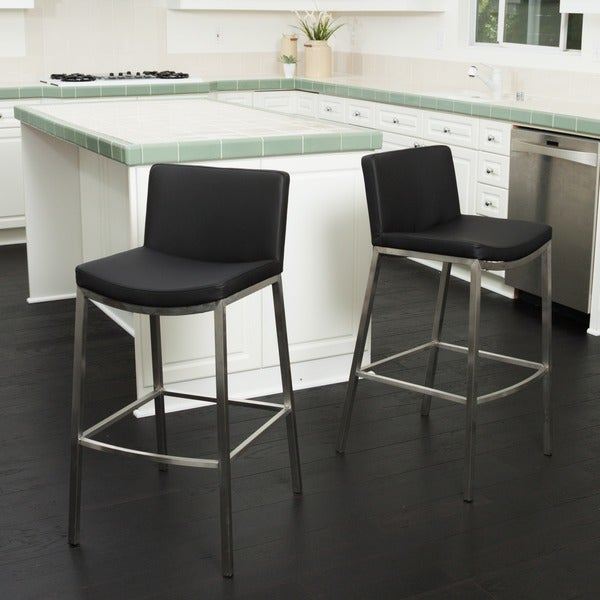 Christopher Knight Home Mauricio Black PU Barstool (Set of 2)