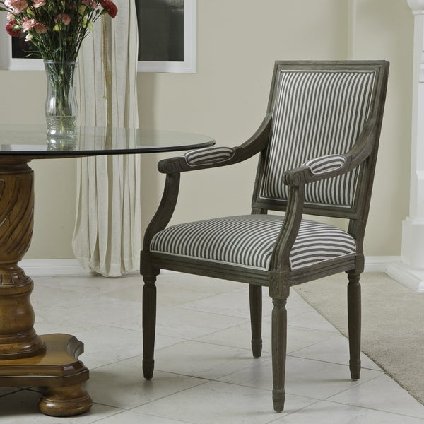 Madison Oak Coffee Striped Arm Chair by Christopher Knight Home