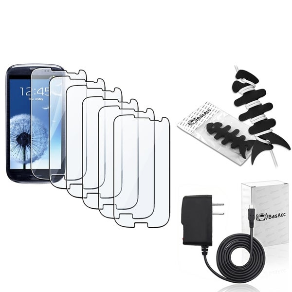 INSTEN Screen Protector/ Wrap/ Charger for Samsung Galaxy S III/ S3