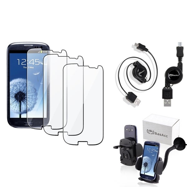 INSTEN USB Cable/ Protector/ Car Mount for Samsung Galaxy S III/ S3