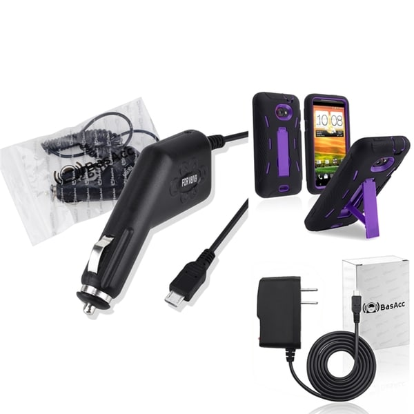 BasAcc Purple/ Black Case/Travel/ Car Charger for HTC EVO 4G LTE