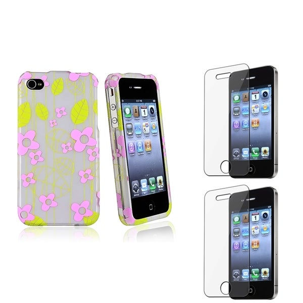 BasAcc Green/ Pink Case/ Screen Protector for Apple iPhone 4/ 4S