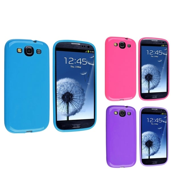 INSTEN Purple/ Hot Pink/ Blue TPU Phone Case Cover for Samsung Galaxy S3