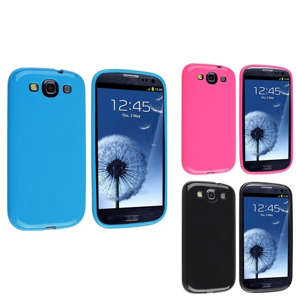 INSTEN Black/ Hot Pink/ Blue TPU Phone Case Cover for Samsung Galaxy S3