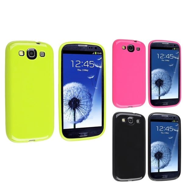 INSTEN Black/ Hot Pink/ Green TPU Phone Case Cover for Samsung Galaxy S3