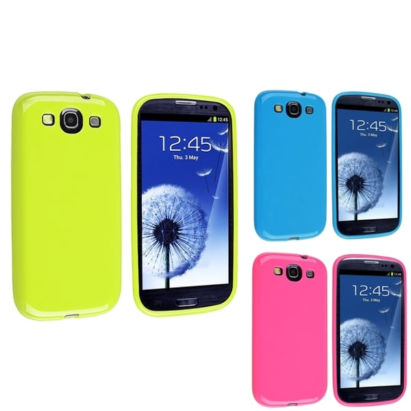 INSTEN Pink/ Blue/ Green TPU Phone Case Cover for Samsung Galaxy S3