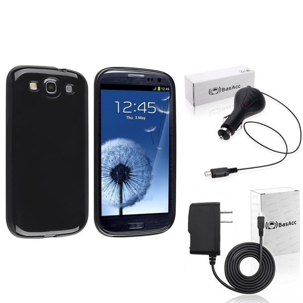 INSTEN Blue TPU Phone Case Cover/ Travel/ Car Charger Bundle for Samsung Galaxy S3