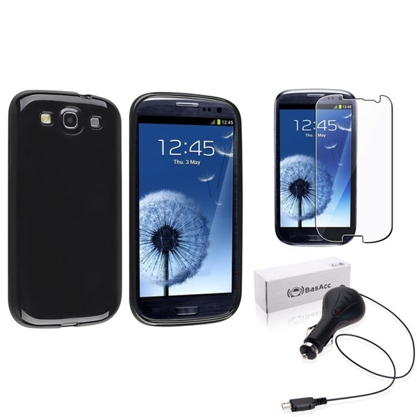INSTEN Black Phone Case Cover/ Anti-glare Screen Protector/ Car Charger for Samsung Galaxy S3
