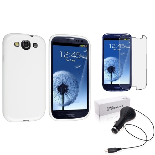 INSTEN White Phone Case Cover/ Anti-glare Screen Protector/ Car Charger for Samsung Galaxy S3