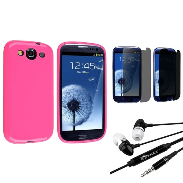 INSTEN Hot Pink Phone Case Cover/ Screen Protector/ Headset for Samsung Galaxy S3