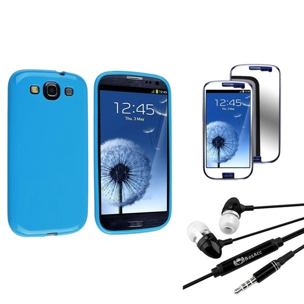 INSTEN Blue Phone Case Cover/ Mirror Screen Protector/ Headset for Samsung Galaxy S3