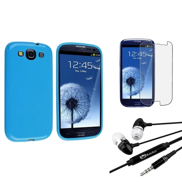 INSTEN Light Blue TPU Case Cover/ Anti-scratch Screen Protector/ Headset for Samsung Galaxy S3
