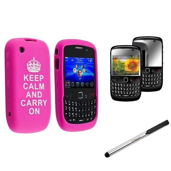 BasAcc Case/ Screen Protector/ Silver Stylus for BlackBerry Curve 8520 Model Cell Phone