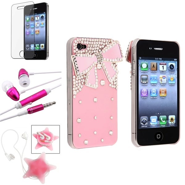 BasAcc Diamond Ribbon Case/ Protector/Headset for Apple iPhone 4/ 4S