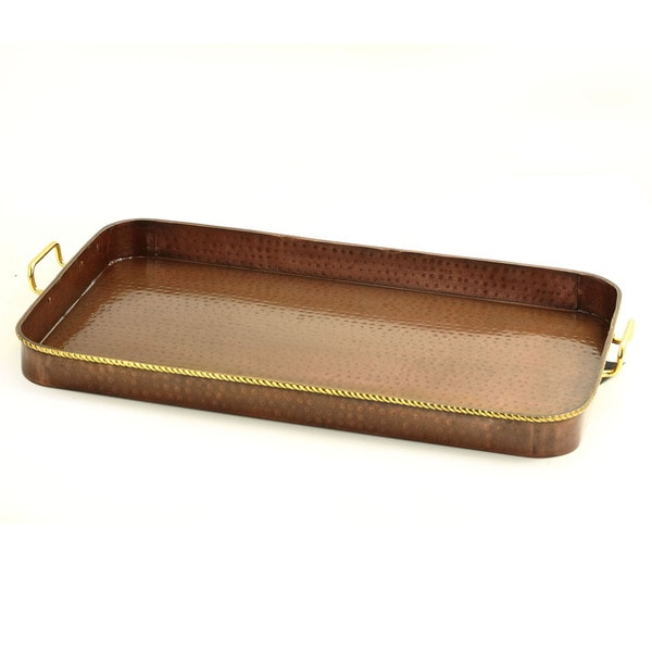 Old Dutch Oblong Antique Copper Tray with Cast Brass Handles