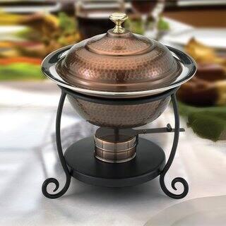 Old Dutch Round Antique Copper Chafing Dish - 1.75 qt