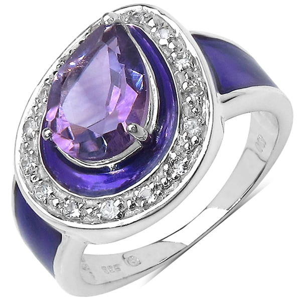 Malaika Sterling Silver 1 4/5ct TGW Amethyst and White Topaz Enameled Ring
