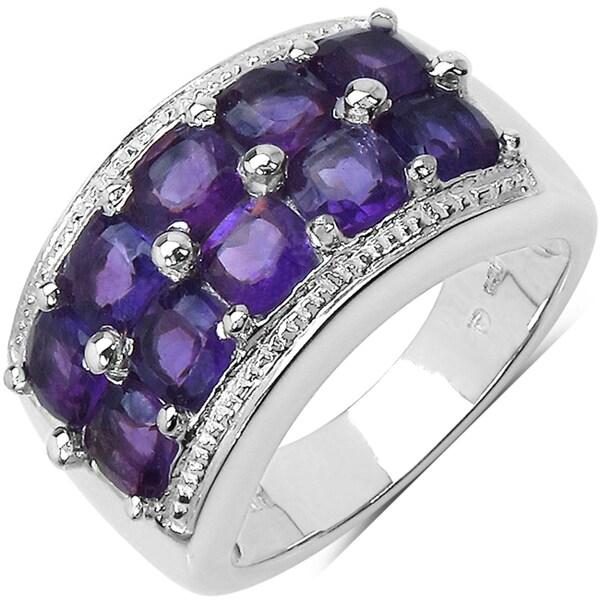 Malaika Sterling Silver 3 2/5ct TGW Amethyst Ring