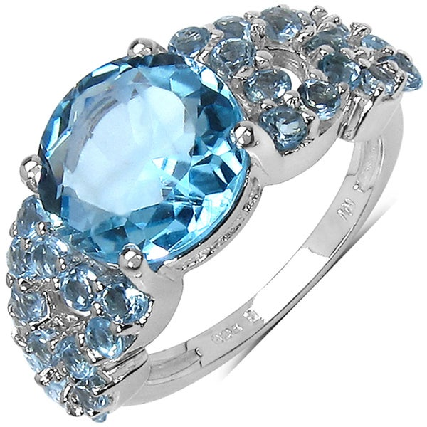 Malaika Sterling Silver 5 7/8ct TGW Blue Topaz Ring