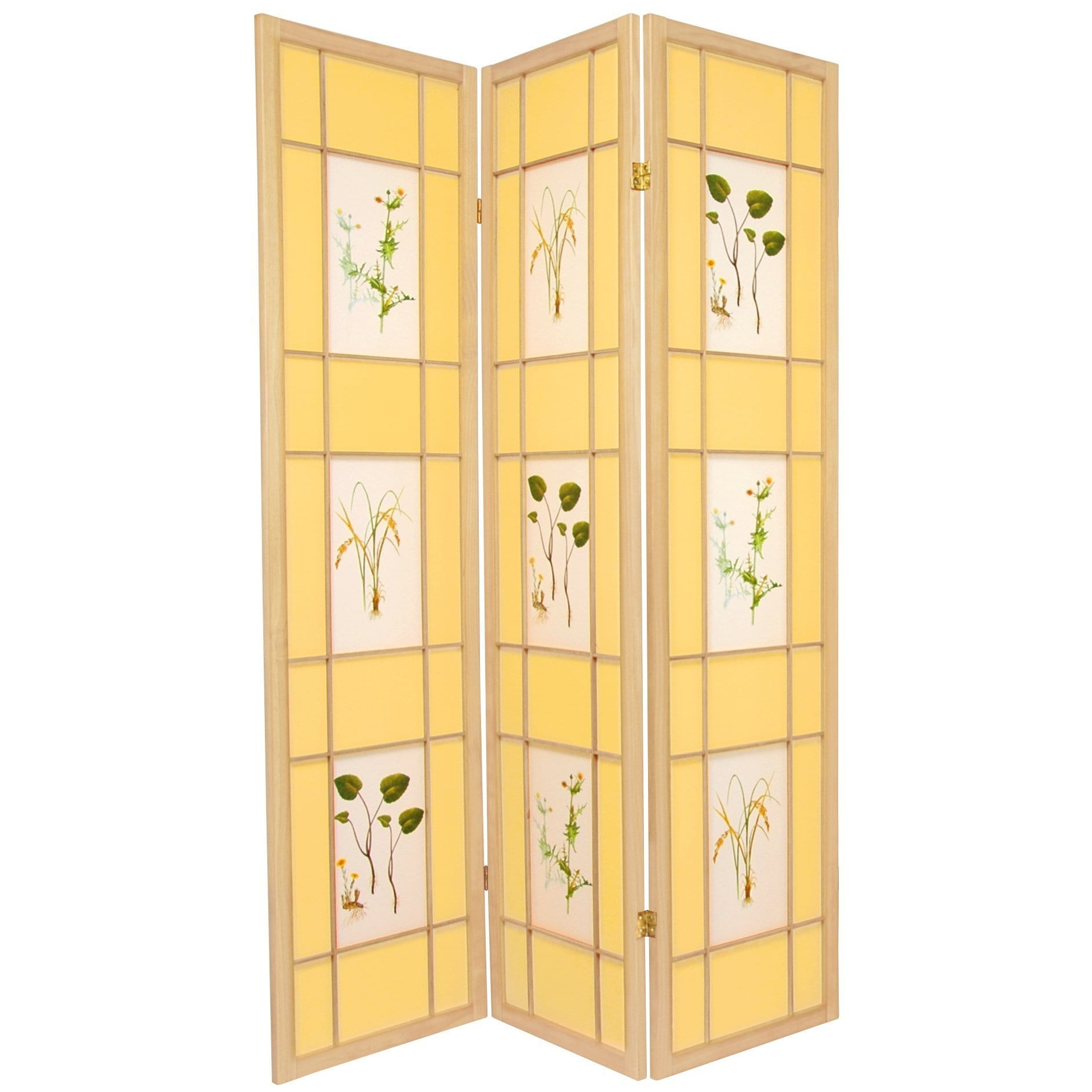 Handmade Wood and Rice Paper Floral Delight Shoji Screen ...