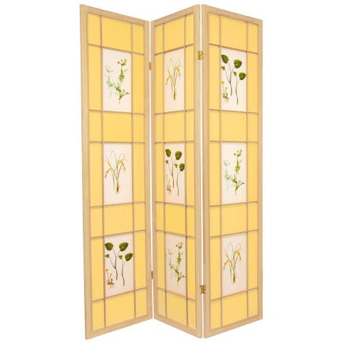 Handmade Wood and Rice Paper Floral Delight Shoji Screen