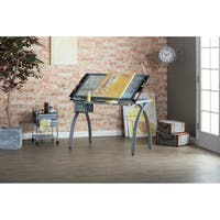 Studio Designs Futura Silver/Blue Glass Drafting Table