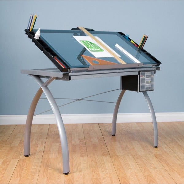Charmant Studio Designs Futura Silver/Blue Glass Drafting Table