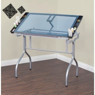 Studio Designs Silver/Blue Glass Foldable Drafting and Hobby Craft Station Table