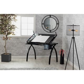 Studio Designs Futura Black/Black Glass Drafting and Hobby Craft Station Table