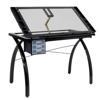 Studio Designs Futura Black Metal with Clear Glass Drafting Table