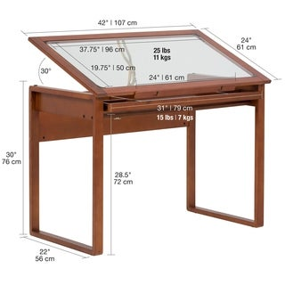 Studio Designs Ponderosa Sonoma Brown Solid Wood Drafting Table with Drawer