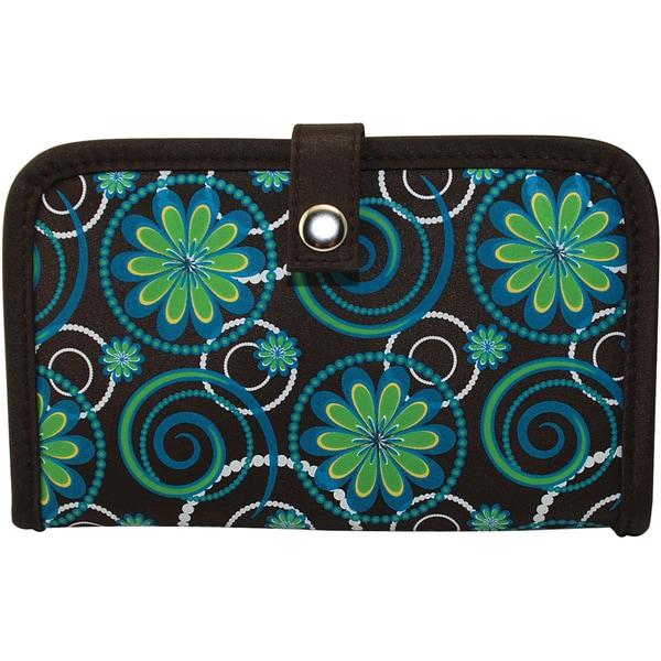Mackinac Moon Teal/ Green/ Brown Flower/ Circle Print Crochet Hook Holder
