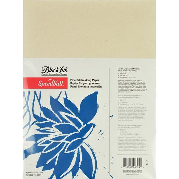 Speedball Block Printing Paper Pack 9x12 25 Sheets/Pkg
