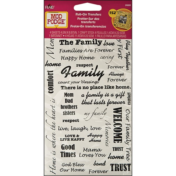 Mod Podge Rub On Transfers-Friends, Family, Welcome, Love Words