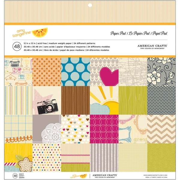 "Amy Tangerine Original Paper Pad 12""X12""-24 Different Patterns/ 2 Each"