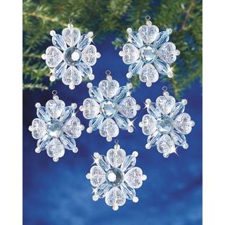 "Holiday Beaded Ornament Kit-Filagree Snowflake 1-3/4"" Makes 12"
