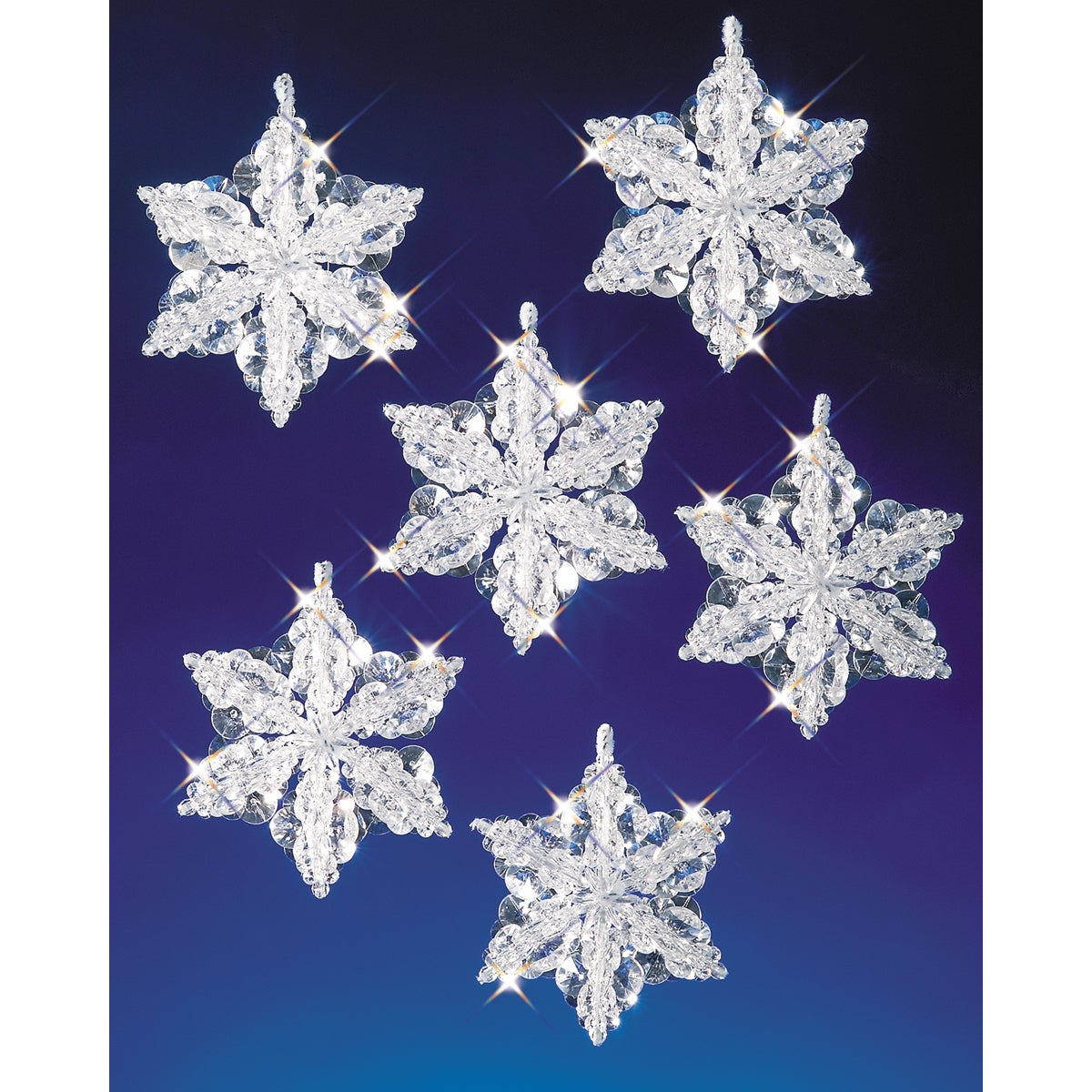 """Holiday Beaded Ornament Kit-Snow Crystal Danglers 4/""""X2/"""" Makes 8"""