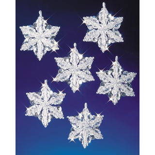 "Holiday Beaded Ornament Kit-Snow Crystals 3-1/2"" Makes 6"