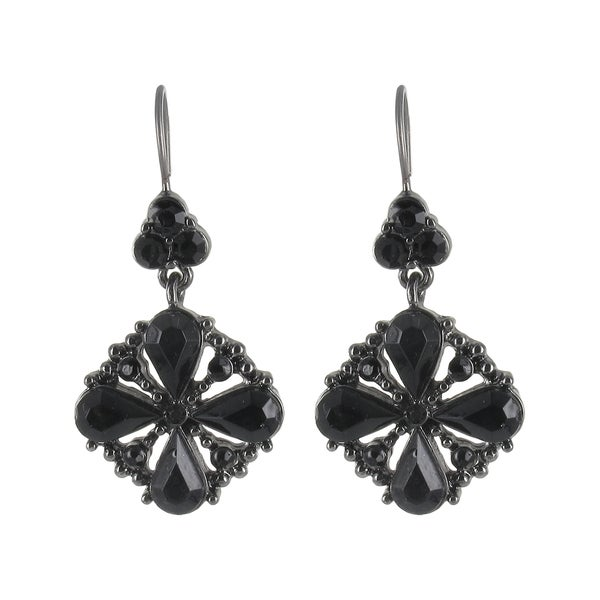 Roman Black-plated Jet Faux Crystal Dangle Earrings