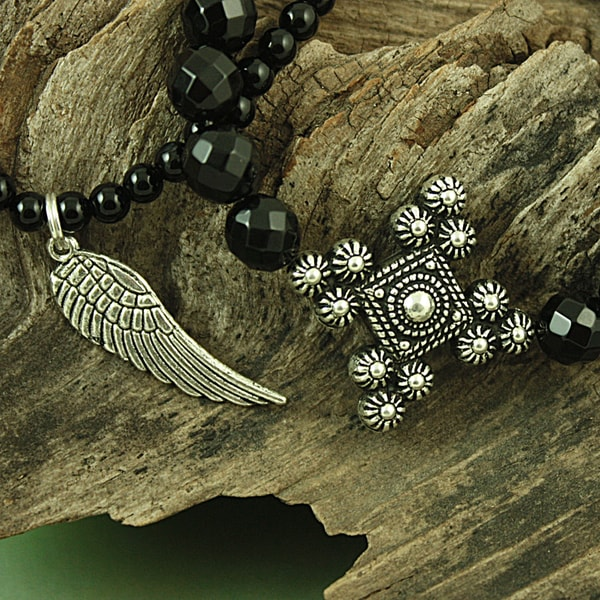 Handcrafted Faceted Onyx Antique Cross and Angel Wing Bracelet Set (USA)