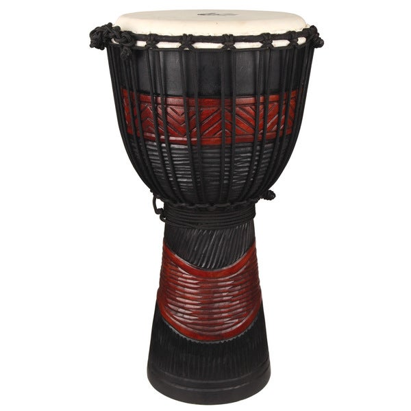 Red and Black Hand Carved 10 Inch Djembe Drum (Indonesia)