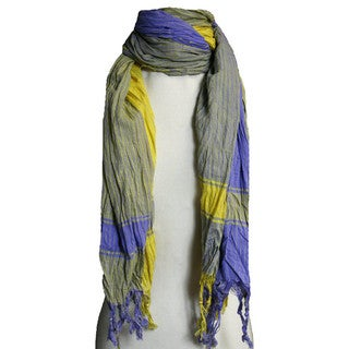 Link to Peach Couture Yellow/ Blue Plaid Crinkle Scarf  Similar Items in Scarves & Wraps