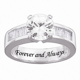 Sterling Silver Engraved Cubic Zirconia Wedding-style Ring