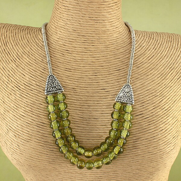Handmade Recycled Glass Beads Tribal Necklace (Kenya)