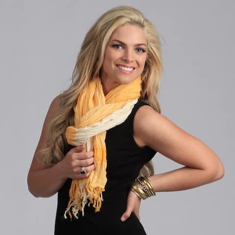 Peach Couture Yellow Plaid Crinkle Scarf