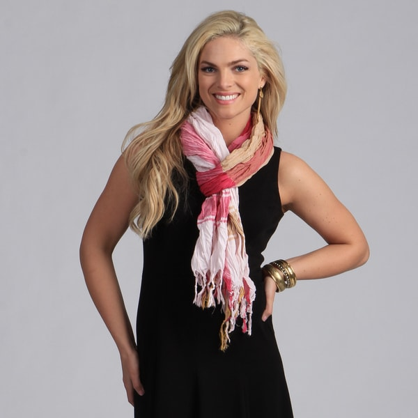 Peach Coutrue Pink/ Tan Plaid Crinkle Scarf